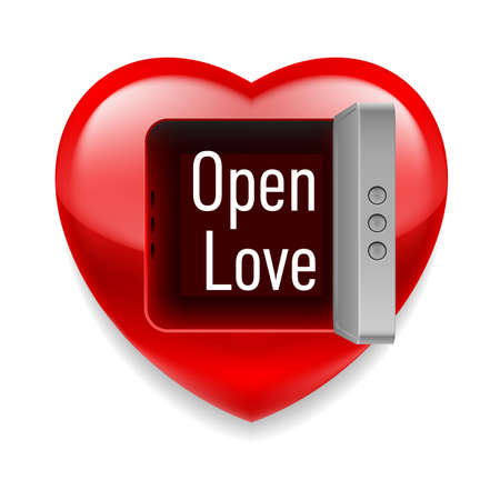 Shiny red heart with open vault door and Open Love text inside Vector
