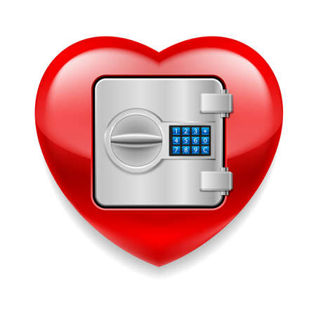 Glossy red as a safe with electronic lock Vector