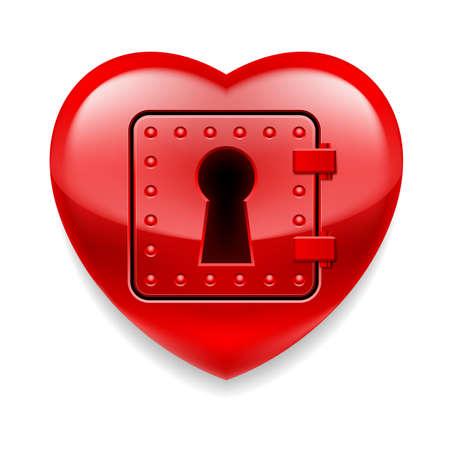 locked door: Glossy red heart with locked door Illustration