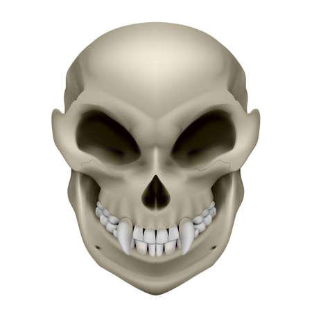unreal unknown: Cranio di un mutante con le zanne. Illustrazione su sfondo bianco