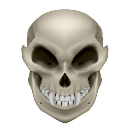mutant: Skull of a mutant with fangs. Illustration on white background
