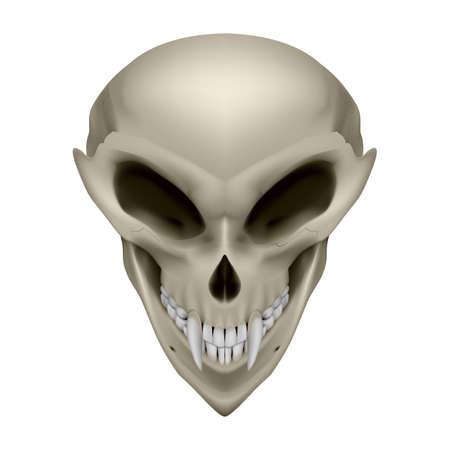unreal unknown: Cranio di un alieno con le zanne su sfondo bianco Vettoriali