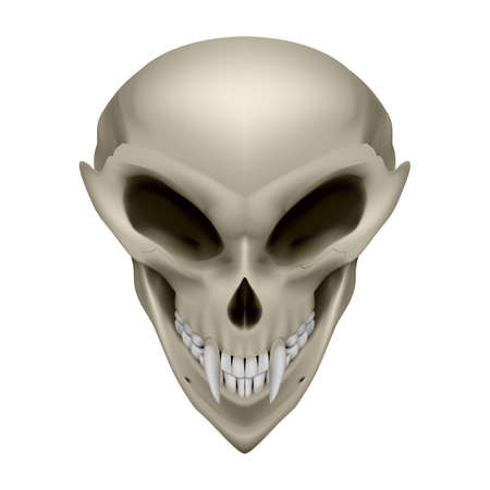 unreal unknown: Skull of an alien with fangs on white background