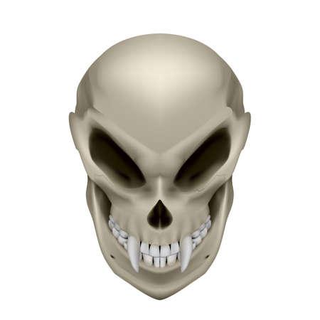 unreal unknown: Cranio di un mutante con le zanne su sfondo bianco Vettoriali