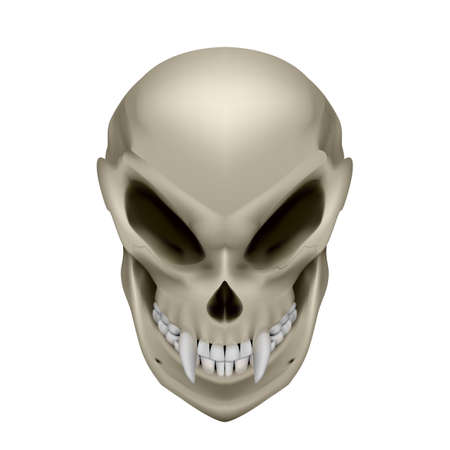 unreal unknown: Skull of a mutant with fangs on white background