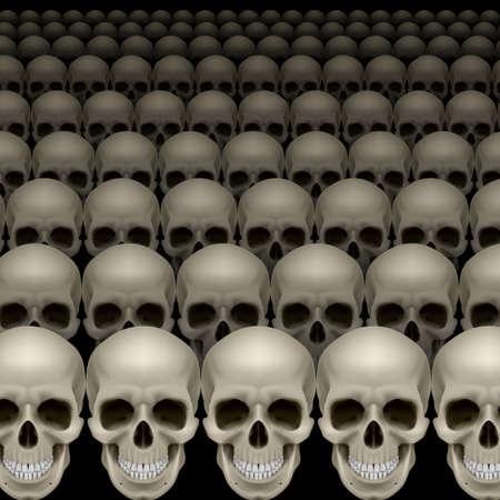 cemetry: Rows of skulls on black