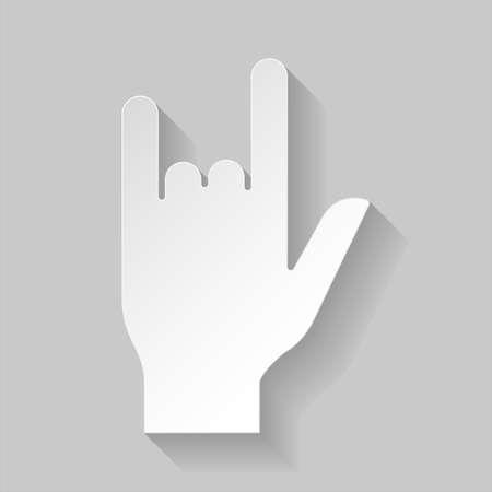 devil horns: Illustration of devil horn gesture in paper style on grey background Illustration