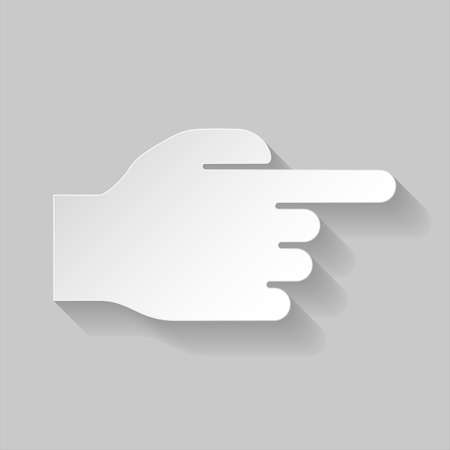 right way: Paper hand pointing to the right on grey background