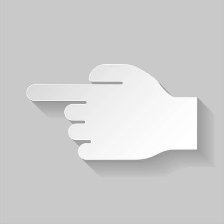 gesticulation: Paper hand pointing to the left on grey background