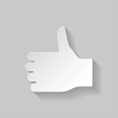 gesticulation: Thumbs up sign in paper style on grey background
