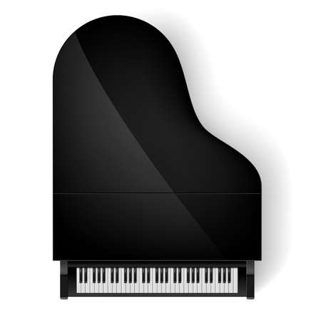 concert grand: Top view of black grand piano on white background