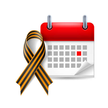 period: Calendar and St. George Ribbon as Victory Day icon