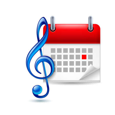 dat: Calendar with marked dat and blue shiny treble clef as music event icon