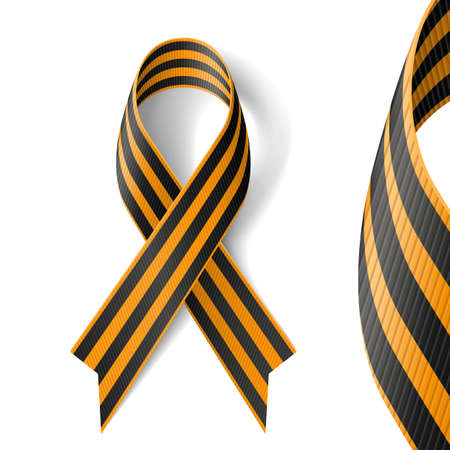 george: Black and gold Ribbon of St George on white background.