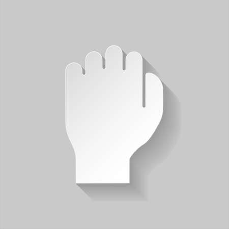 gesticulation: Human fist in paper style on grey background Illustration