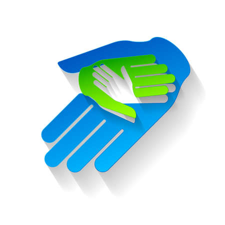 three hands: Composition of three hands in paper style. Symbol of help and teamwork