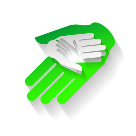 teamwork together: Composition of three hands in paper style. Eco sign, help and teamwork