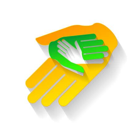 nursing mother: Composici�n de tres manos en el estilo de papel. Ayuda, trabajo en equipo y la eco signo