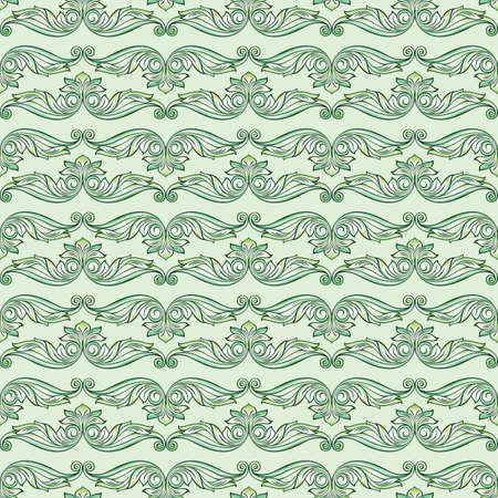 Seamless horizontal pattern with ornate flowers in green shades Vector