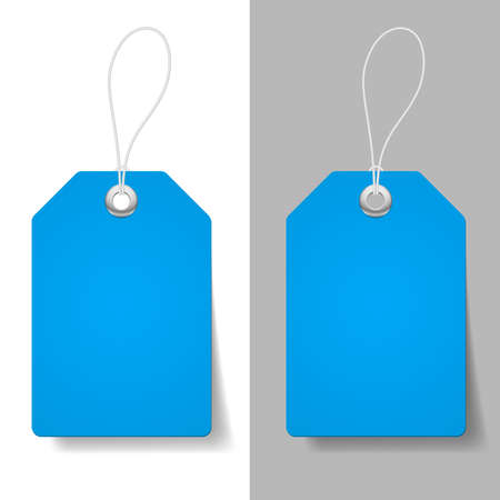 the label the market: Blank blue price tags on white and grey background