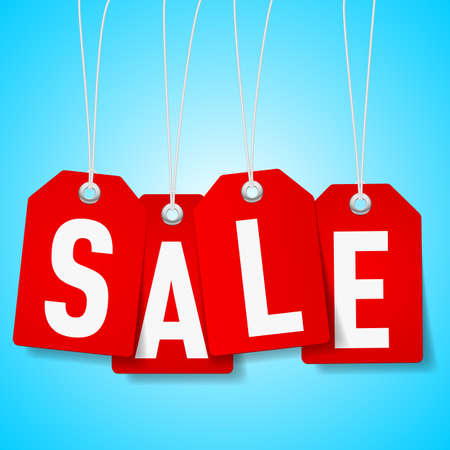 Red price tags with Sale word on blue background  Vector