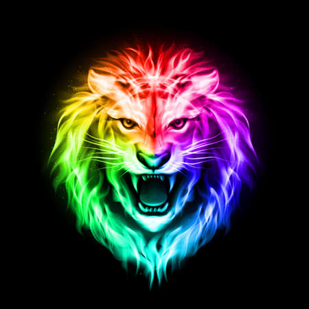 Head of aggressive fire lion in spectrum  on black background Illustration