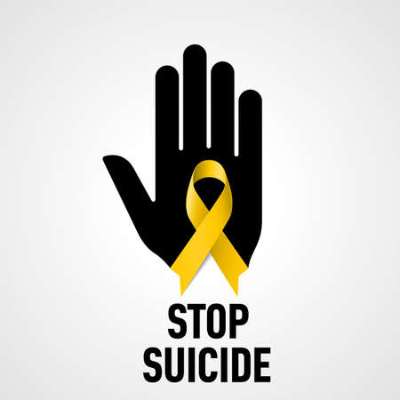 alert ribbon: Stop Suicide sign.  Black hand with yellow ribbon on white background Illustration