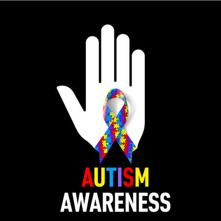 alert ribbon: Autism Awareness  sign.  White hand with puzzle ribbon on black background Illustration