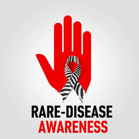 rare animals: Rare-Disease Awareness sign sign.  Red hand with zebra-print ribbon on grey background
