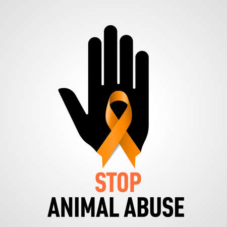 preventing: Stop  Animal Abuse sign.  Black hand with orange ribbon on grey background Illustration