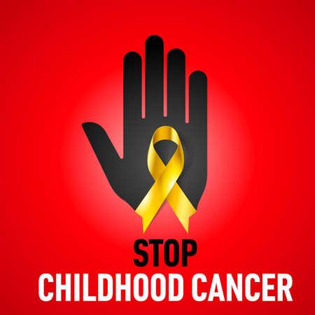 Smettere Childhood Cancer segno. Mano nera con nastro giallo su sfondo rosso Archivio Fotografico - 27843303