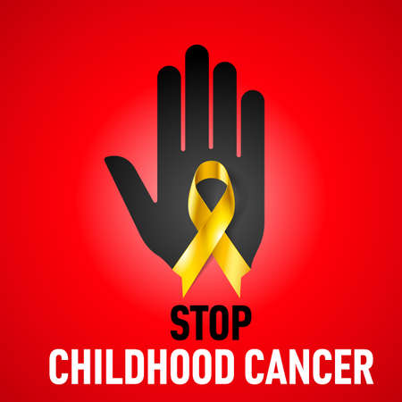 alert ribbon: Stop Childhood Cancer sign.  Black hand with yellow ribbon on red background