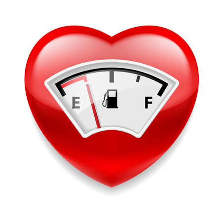 vital: Glossy red heart with fuel indicator as symbol of health or love