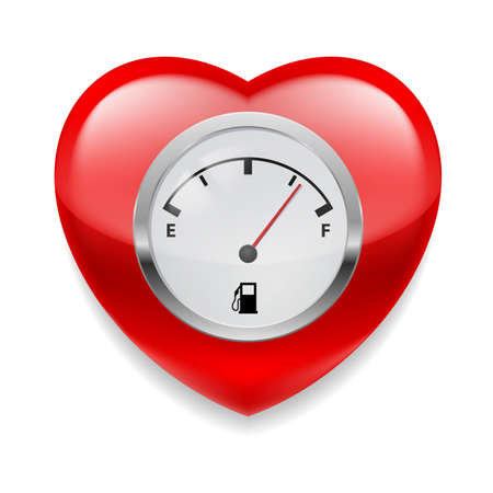cardiac care: Shiny red heart with fuel indicator showing almost full. Symbol of health or love Illustration