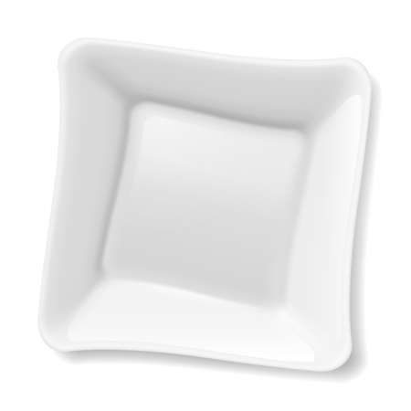 Illustration of empty square white plate isolated on white background Vector