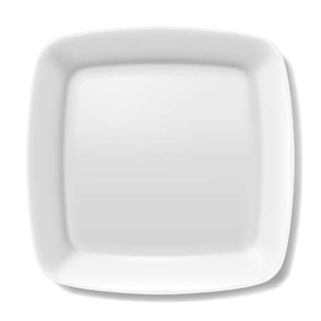 porcelain plate: Empty white square plate with rounded borders isolated on white background