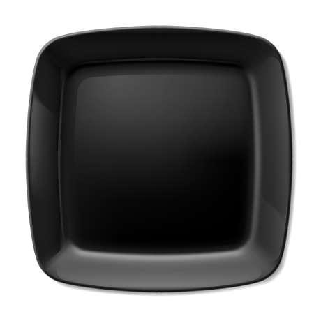 Illustration of flat black plate isolated on white background