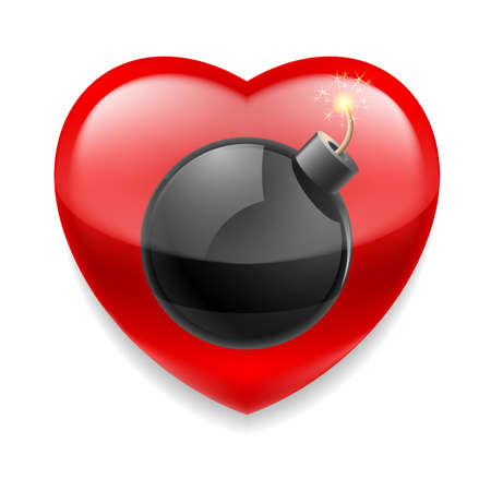 love dynamite: Shiny red heart with bomb ready to explode Illustration