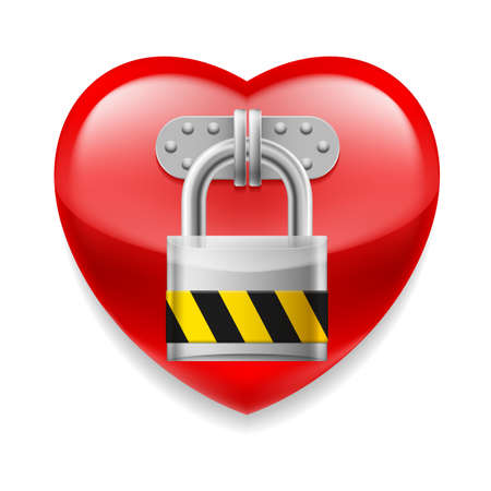 secret love: Glossy red heart with padlock. Love or life in safe