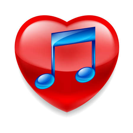 favorite: Favorite music icon. Shiny red heart with glossy blue music note