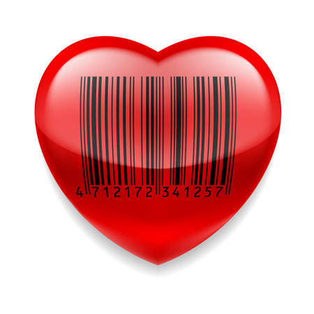 Shiny red heart with bar code over white Vector