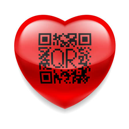 Shiny red heart with QR code. Tecnology concept Vector