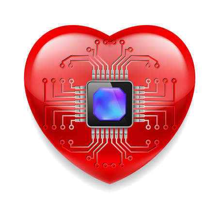 microchip: Shiny red heart with microchip. Technology concept