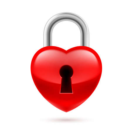 key fob: Padlock as red heart with key hole. Life or love in safe