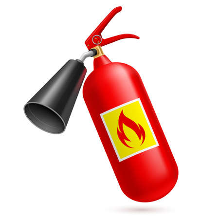 firefighting: Red fire-extinguisher isolated on white background. Fire safety