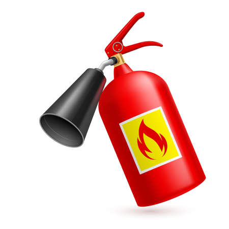 chemical hazard: Red fire extinguisher on white background. Fire safety Illustration