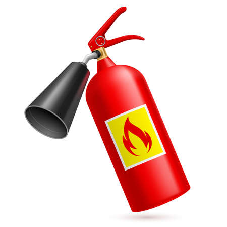 safety sign fire safety signs: Red fire extinguisher isolated on white background. Fire safety
