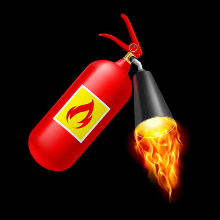Red fire extinguisher with fire on black background. Fire safety Vector
