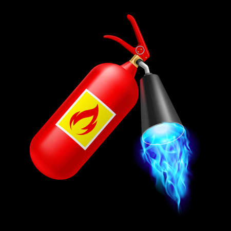 Red fire extinguisher with blue fire on black background. Fire safety Illustration