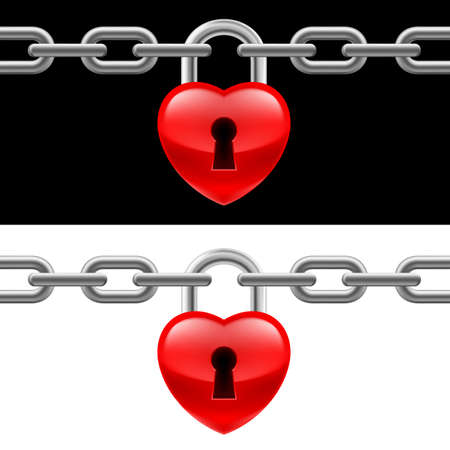Heart lock with chain on white and black backgrounds Vector